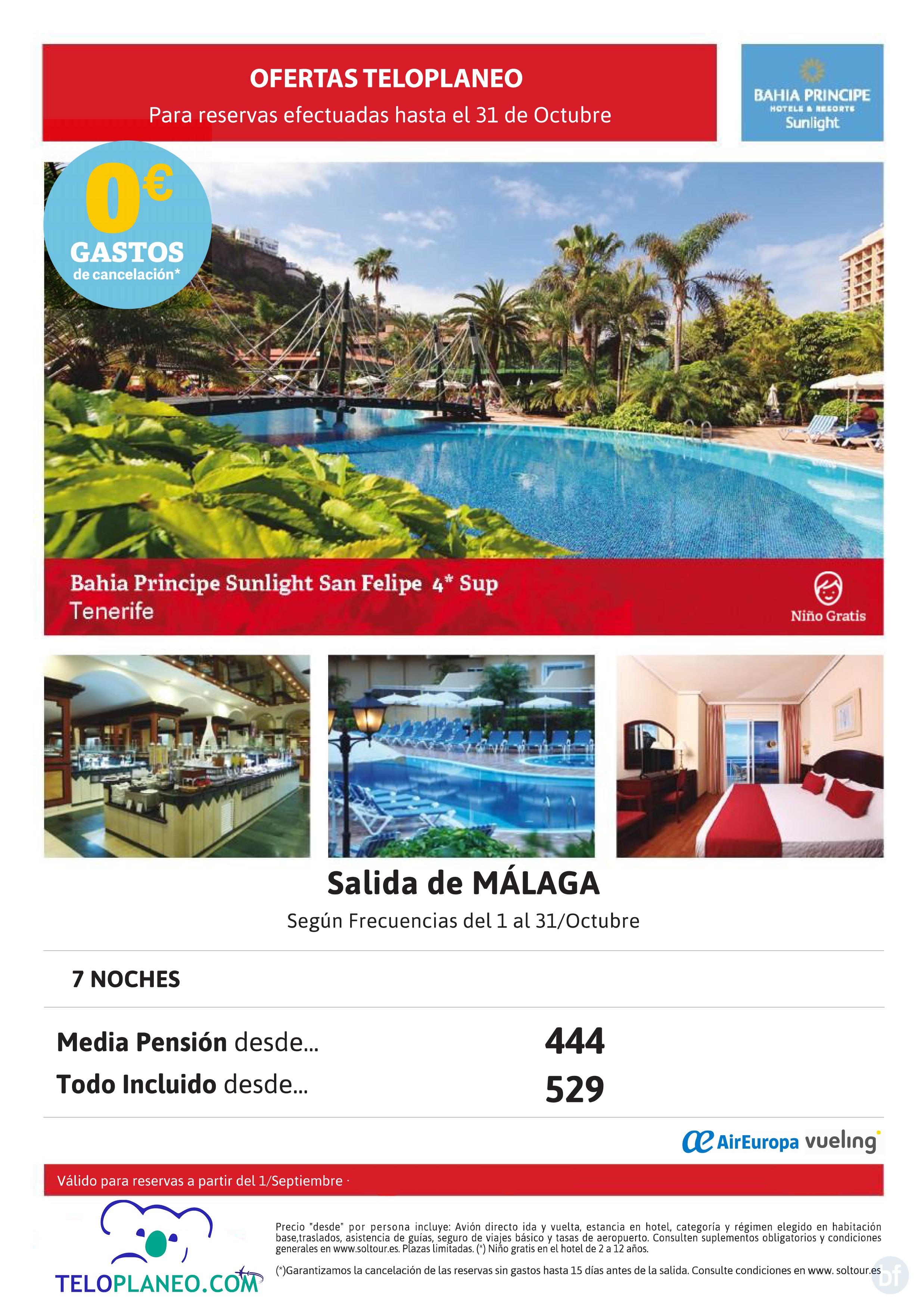 ESPECIAL TENERIFE DESDE MÁLAGA EN HOTEL 4* sup